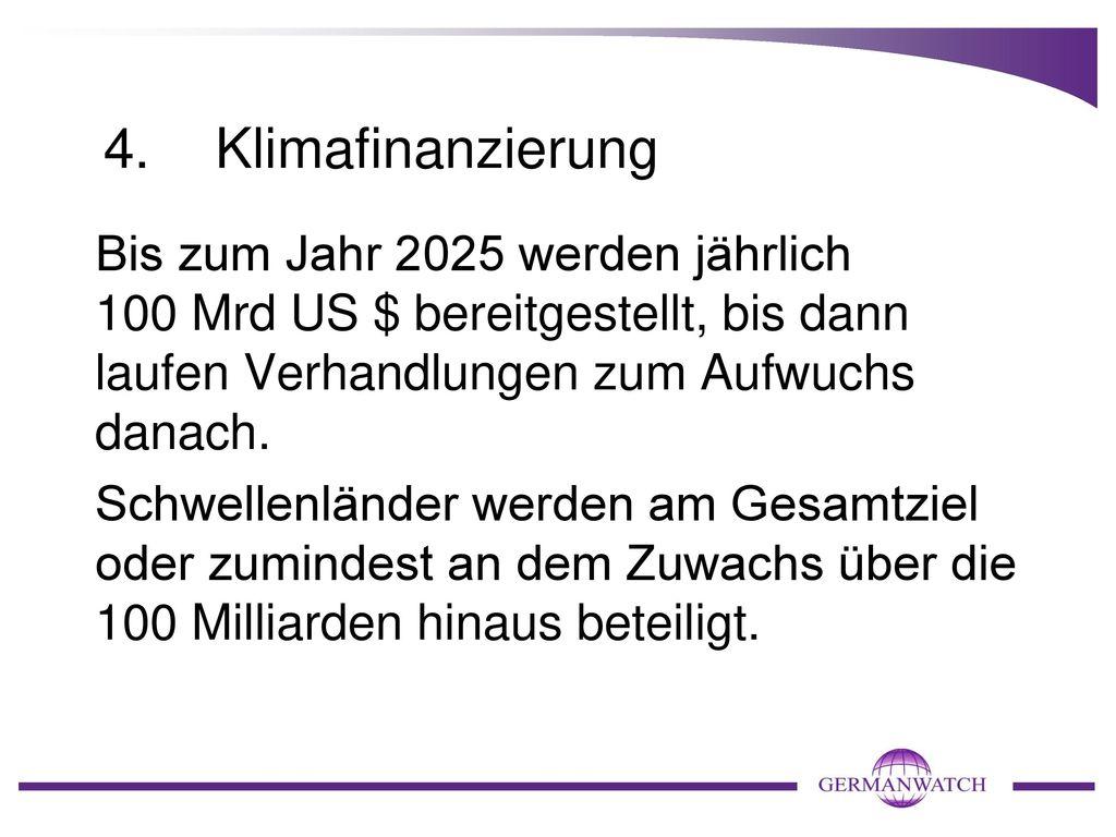 4. Klimafinanzierung