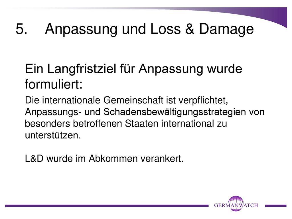 5. Anpassung und Loss & Damage
