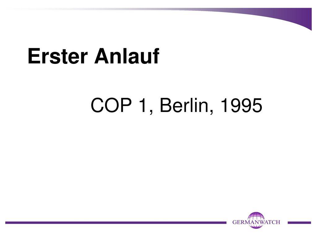 Erster Anlauf COP 1, Berlin, 1995