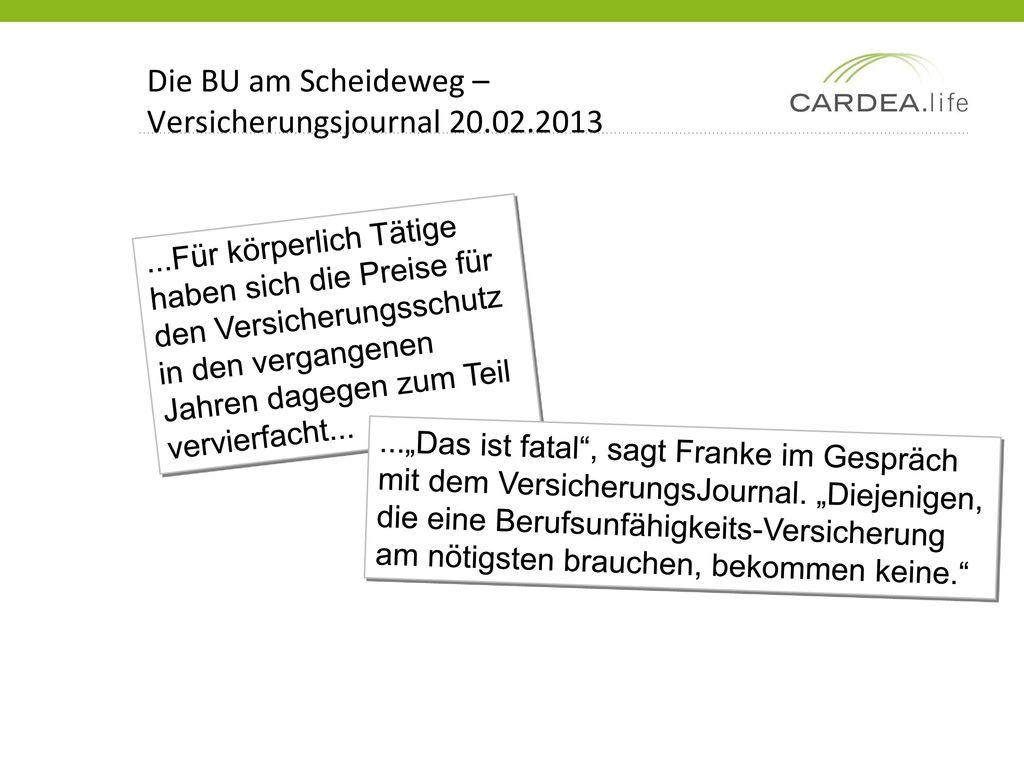Die BU am Scheideweg – Versicherungsjournal 20.02.2013