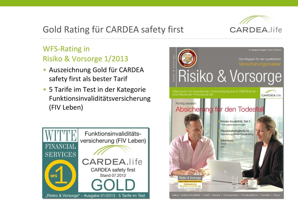 Gold Rating für CARDEA safety first