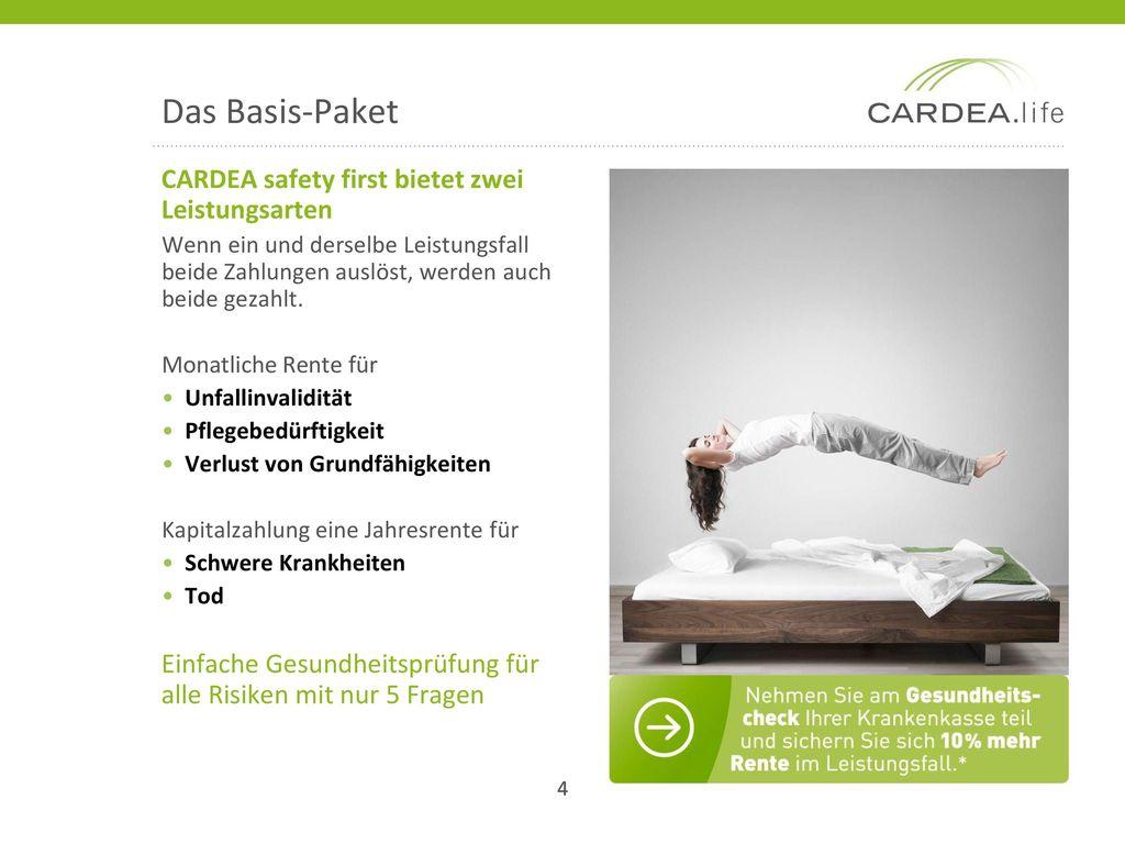 Das Basis-Paket CARDEA safety first bietet zwei Leistungsarten