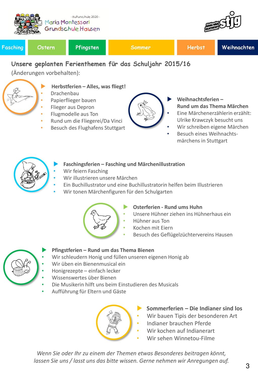  Unsere geplanten Ferienthemen für das Schuljahr 2015/16