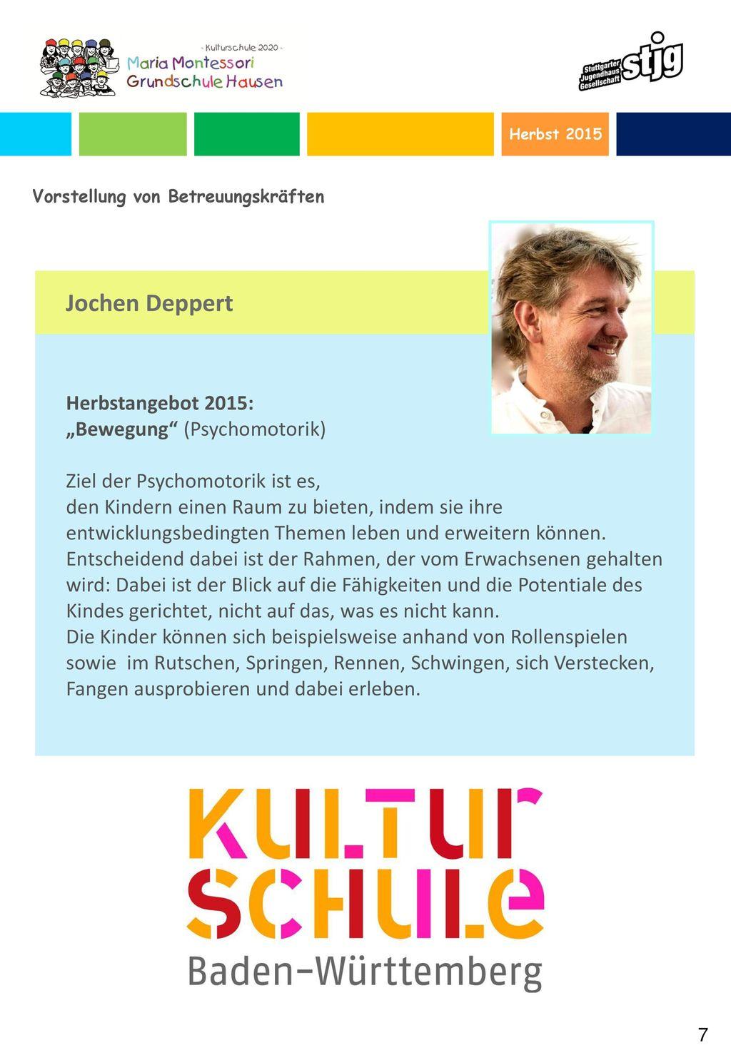 """Jochen Deppert Herbstangebot 2015: """"Bewegung (Psychomotorik)"""