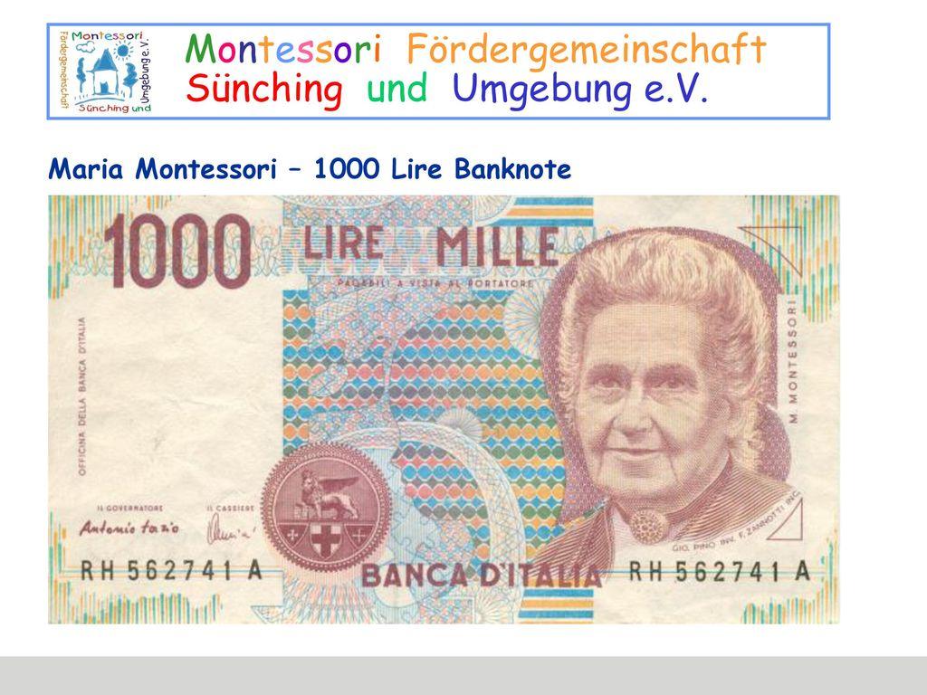 Maria Montessori – 1000 Lire Banknote