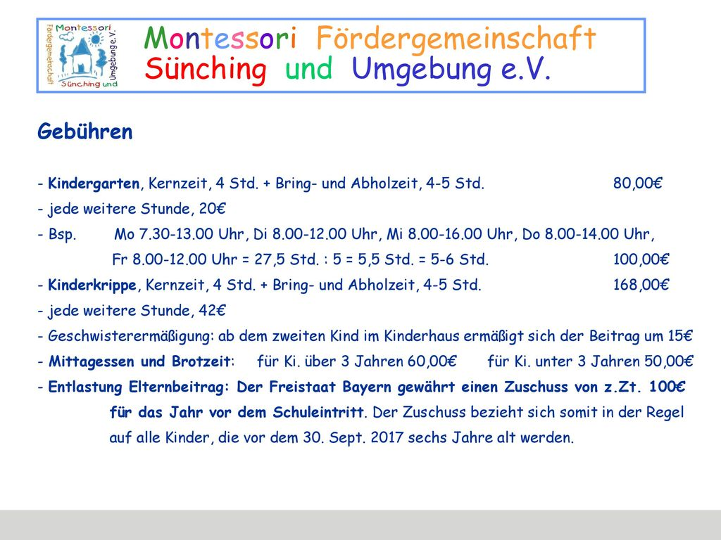 Gebühren - Kindergarten, Kernzeit, 4 Std