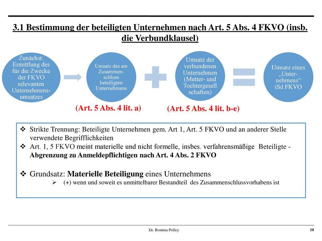 3. 1 Bestimmung der beteiligten Unternehmen nach Art. 5 Abs