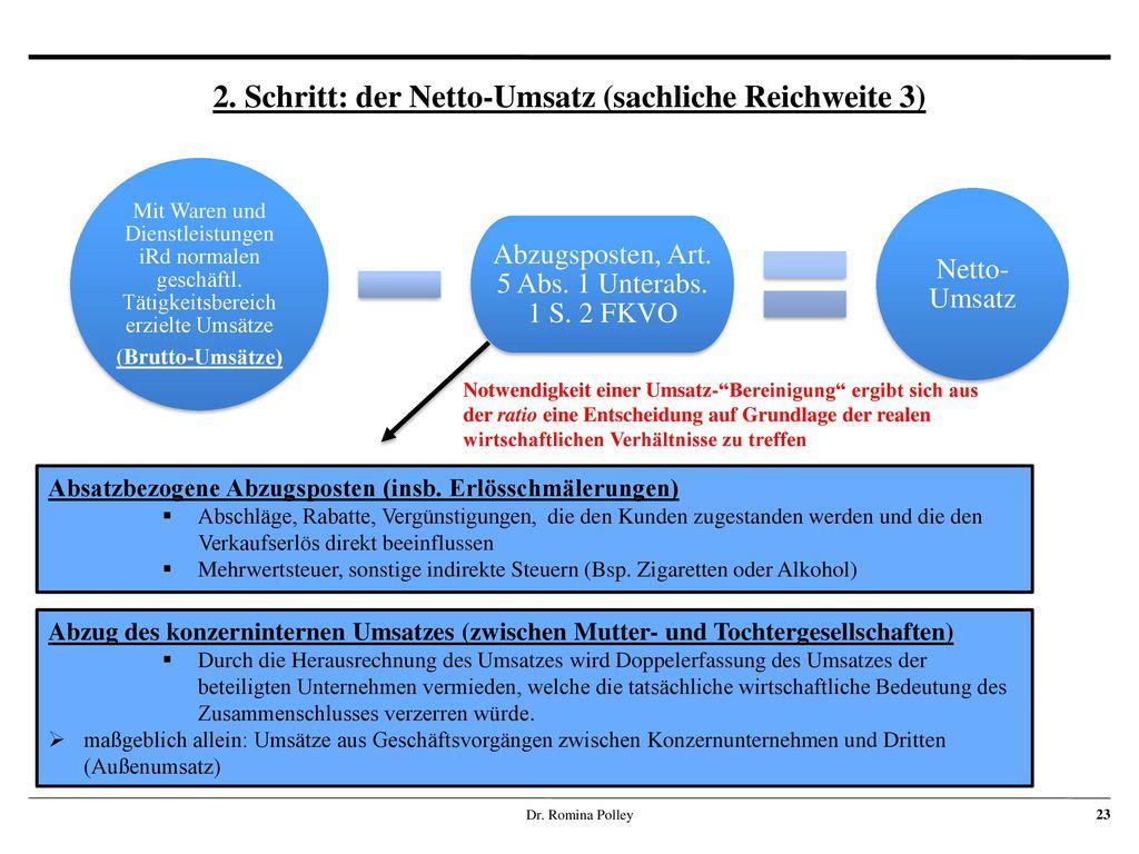 2. Schritt: der Netto-Umsatz (sachliche Reichweite 3)