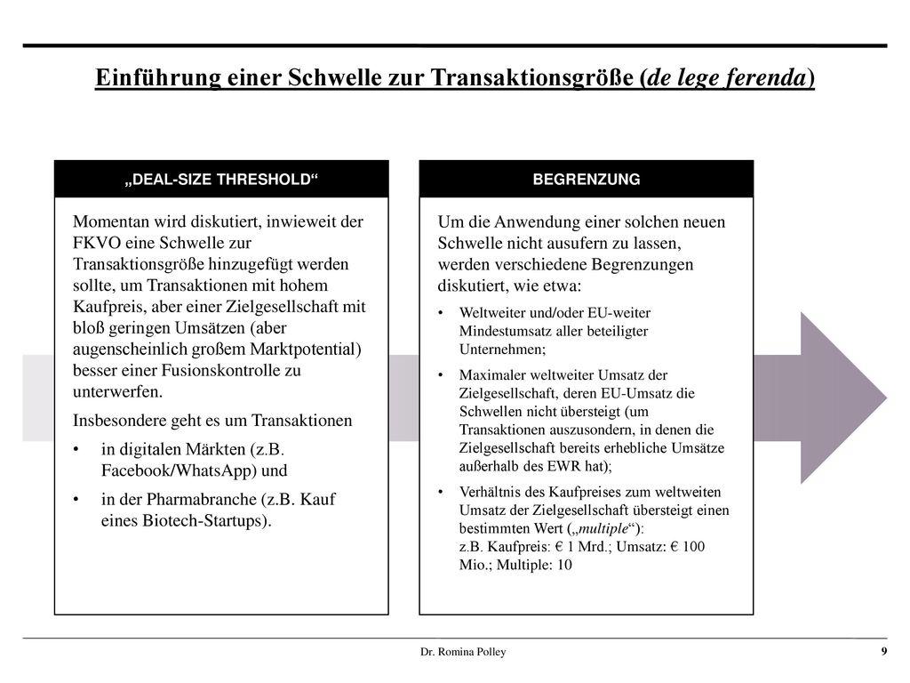 Einführung einer Schwelle zur Transaktionsgröße (de lege ferenda)