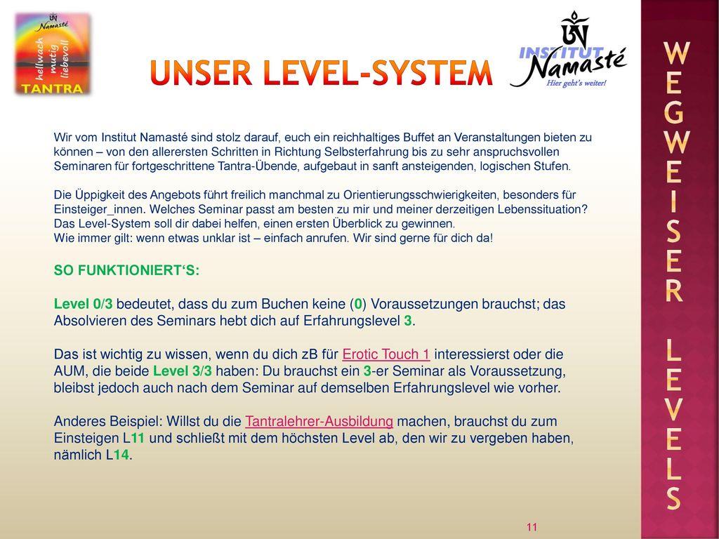 Unser Level-system Wegweiser levels SO FUNKTIONIERT'S: