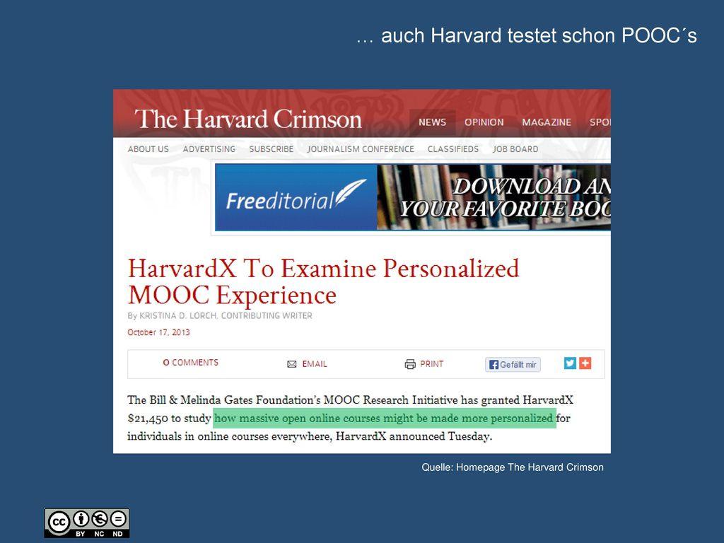 … auch Harvard testet schon POOC´s
