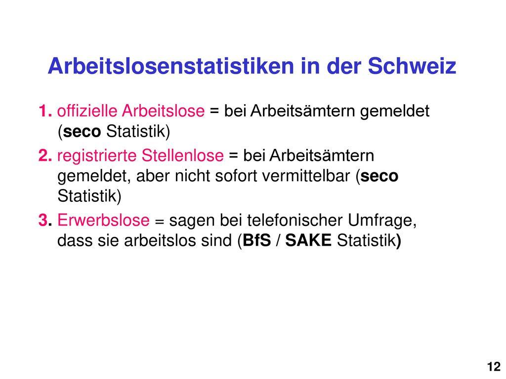 Arbeitslosenstatistiken in der Schweiz