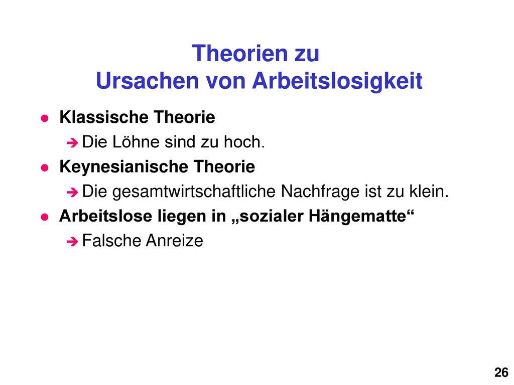 Theorien zu Ursachen von Arbeitslosigkeit