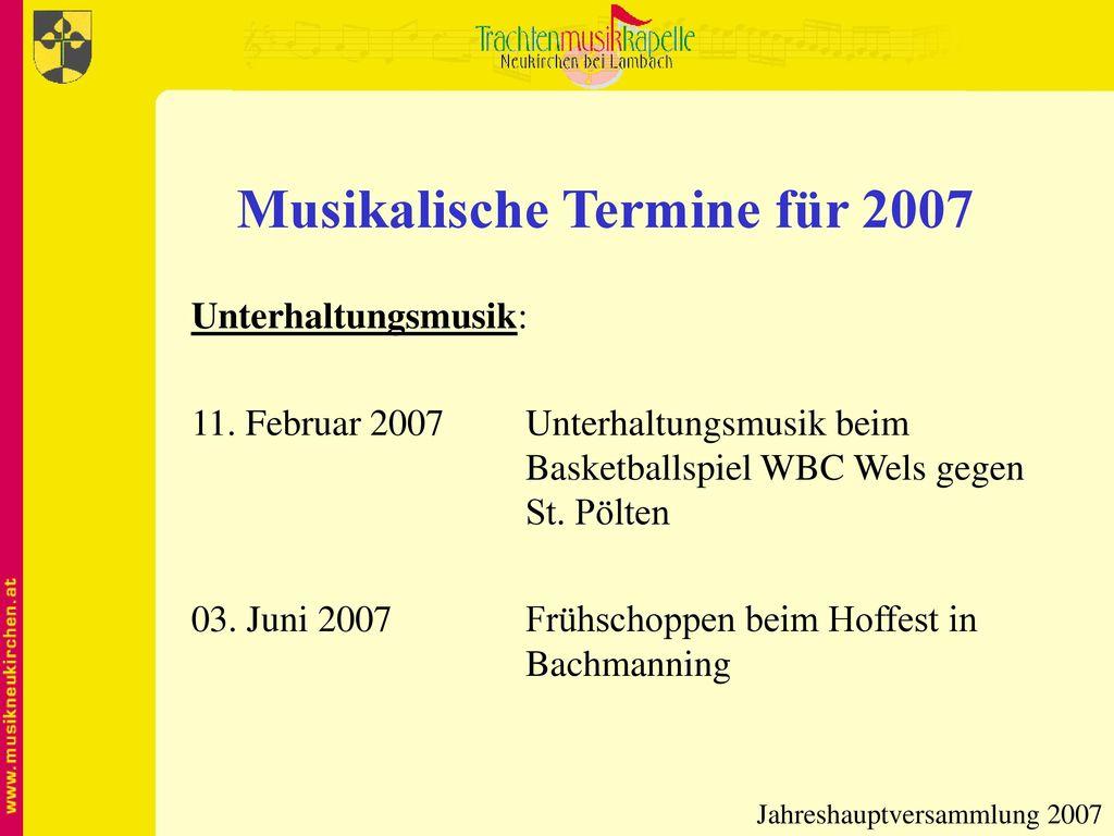 Musikalische Termine für 2007