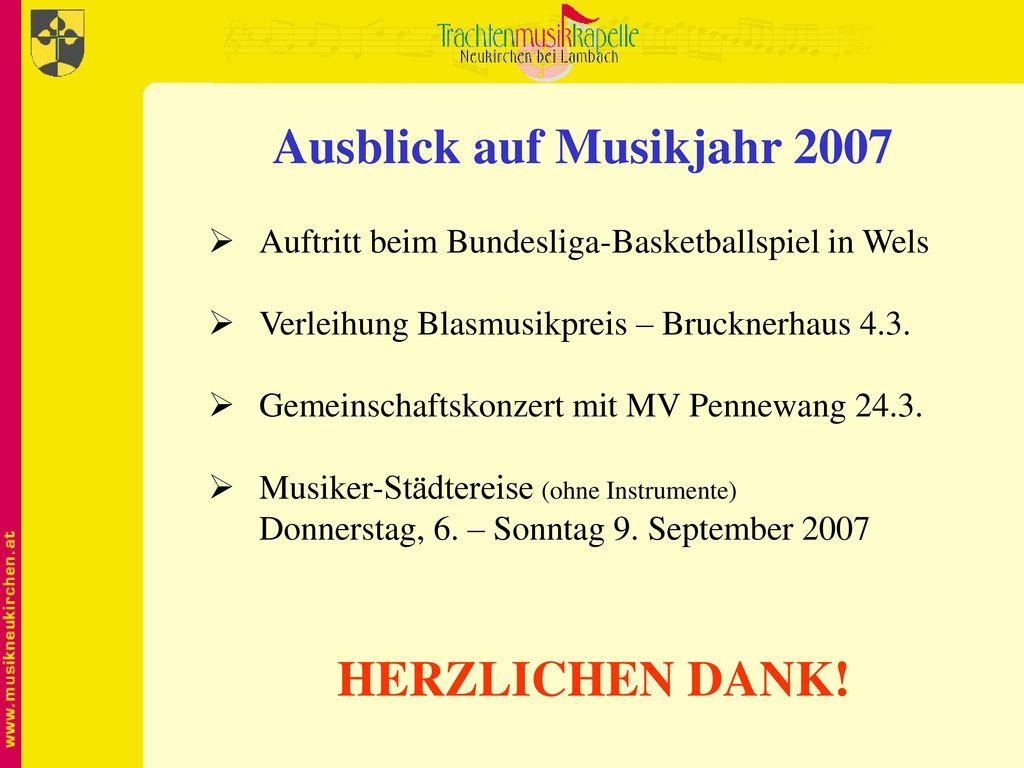 Ausblick auf Musikjahr 2007