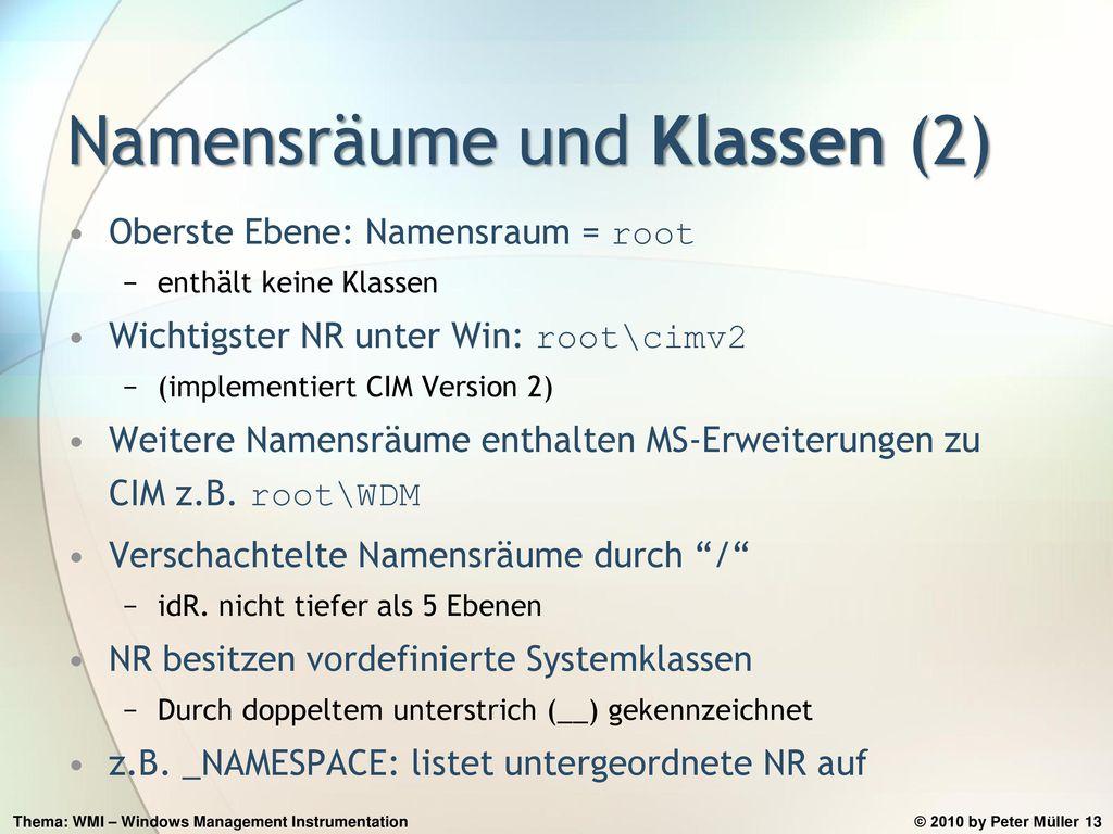Namensräume und Klassen (2)