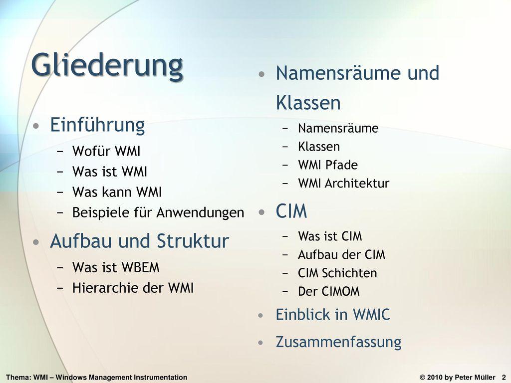 Gliederung Namensräume und Klassen Einführung CIM Aufbau und Struktur