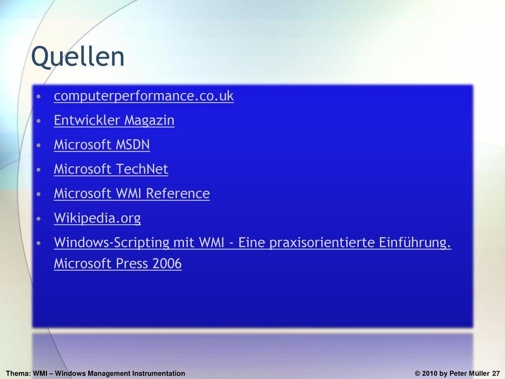 Quellen computerperformance.co.uk Entwickler Magazin Microsoft MSDN