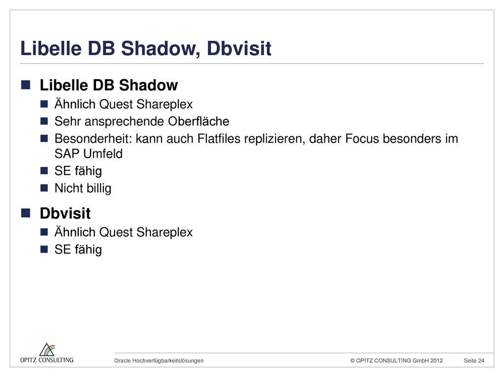 Libelle DB Shadow, Dbvisit