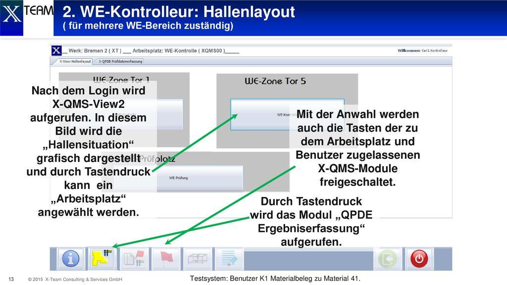 2. WE-Kontrolleur: Hallenlayout ( für mehrere WE-Bereich zuständig)