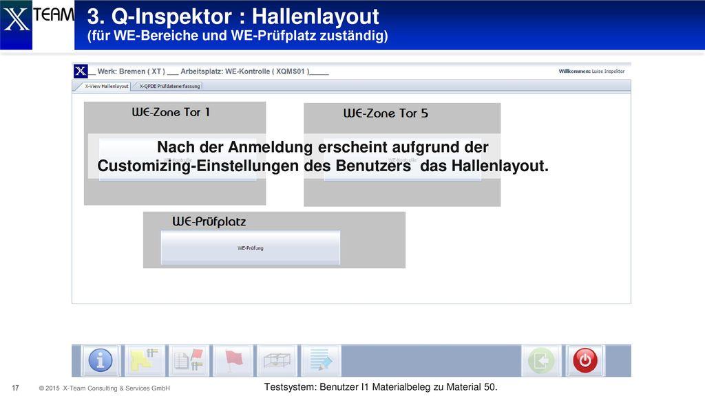 3. Q-Inspektor : Hallenlayout (für WE-Bereiche und WE-Prüfplatz zuständig)