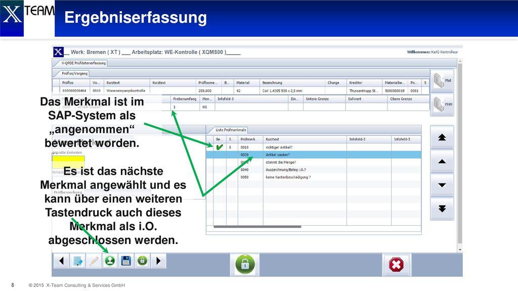 """Das Merkmal ist im SAP-System als """"angenommen bewertet worden."""