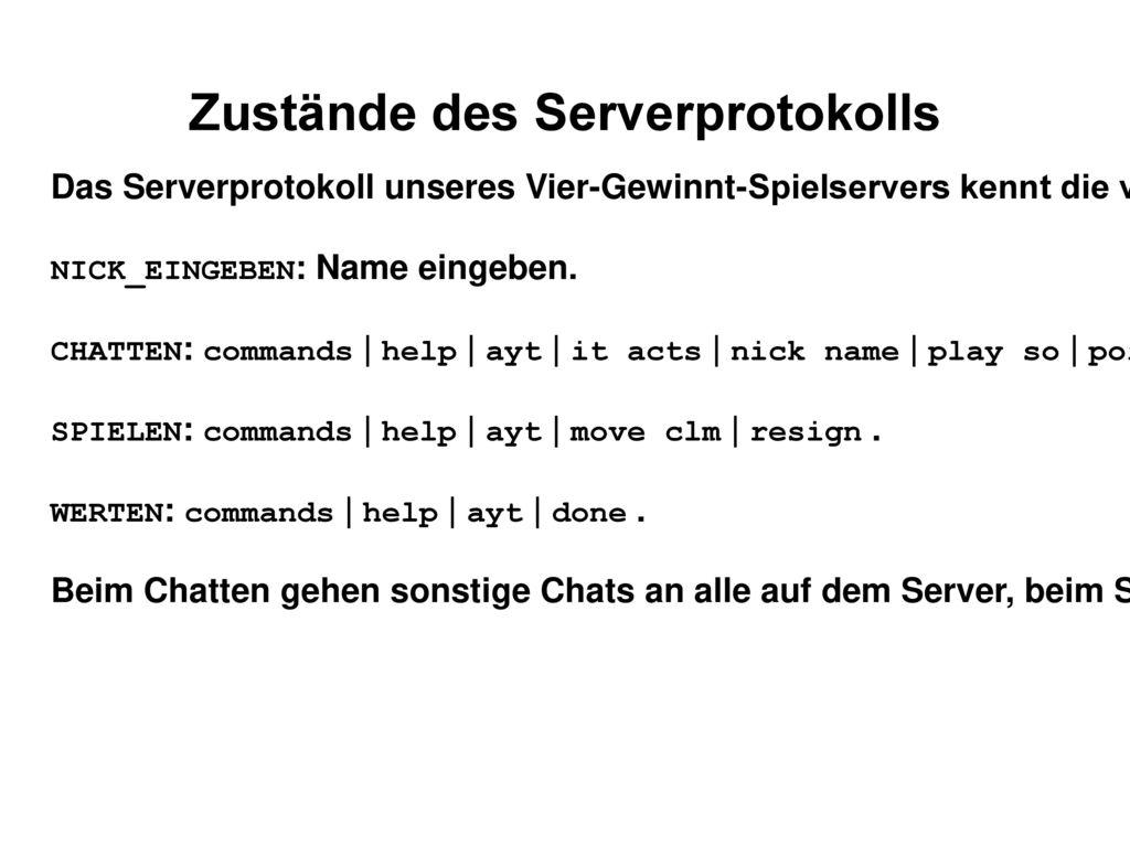 Zustände des Serverprotokolls