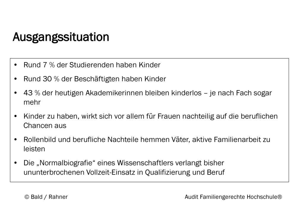 © Bald / Rahner Audit Familiengerechte Hochschule®