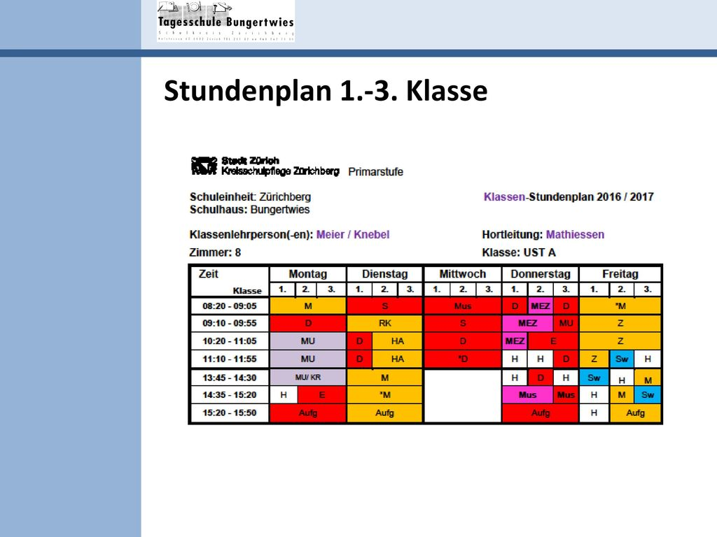 Stundenplan 1.-3. Klasse Lilian