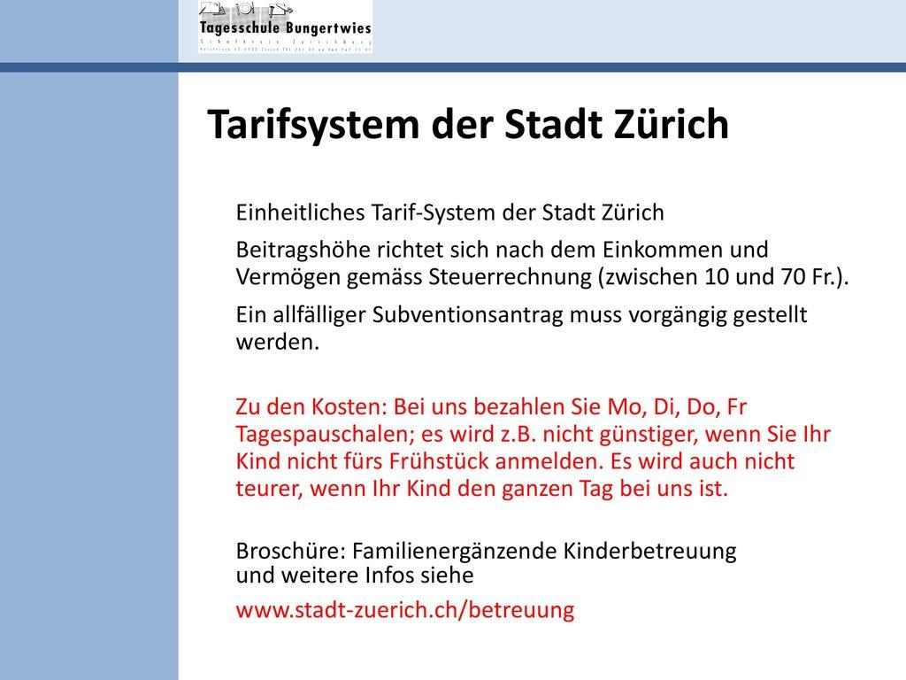 Tarifsystem der Stadt Zürich