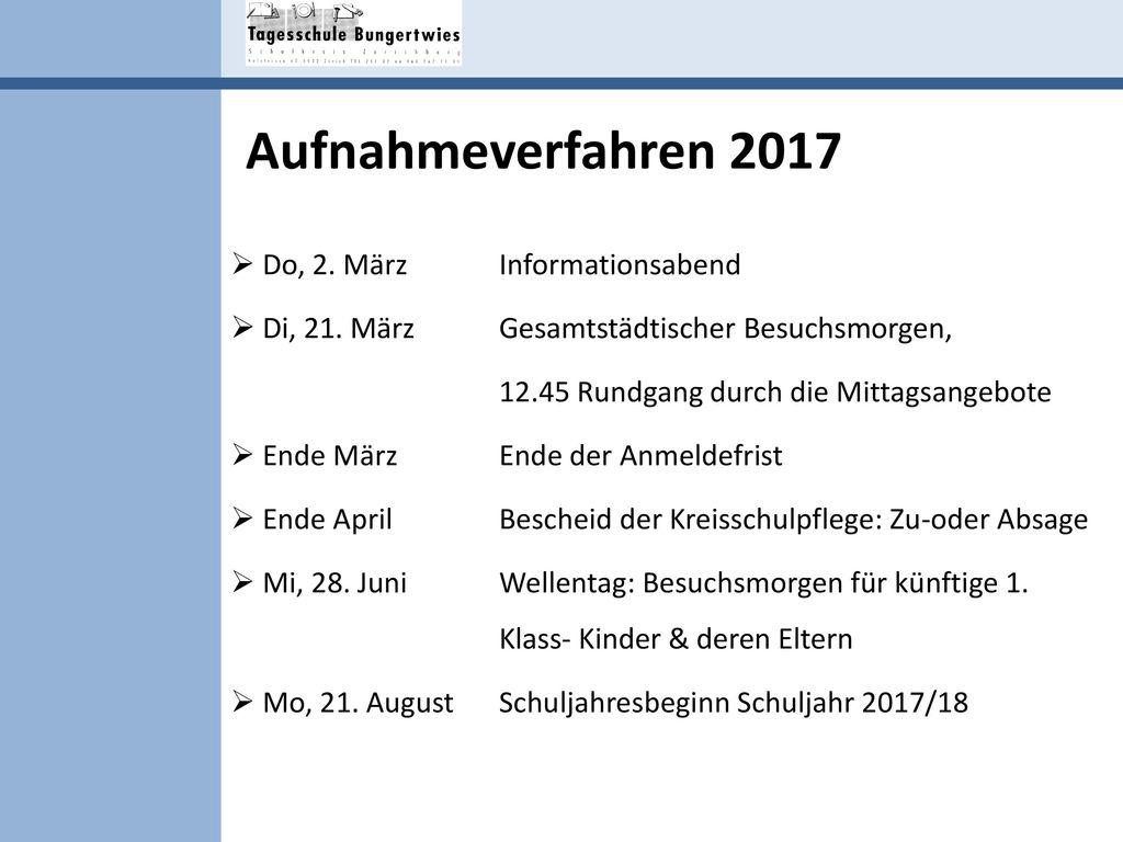 Aufnahmeverfahren 2017 Do, 2. März Informationsabend