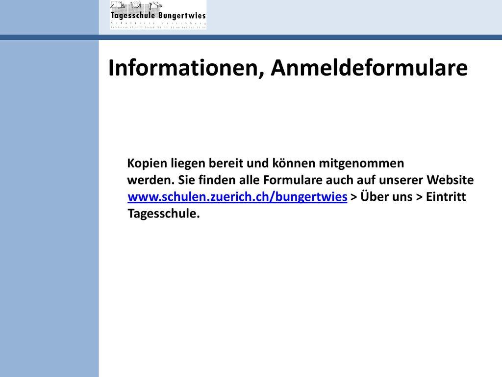 Informationen, Anmeldeformulare
