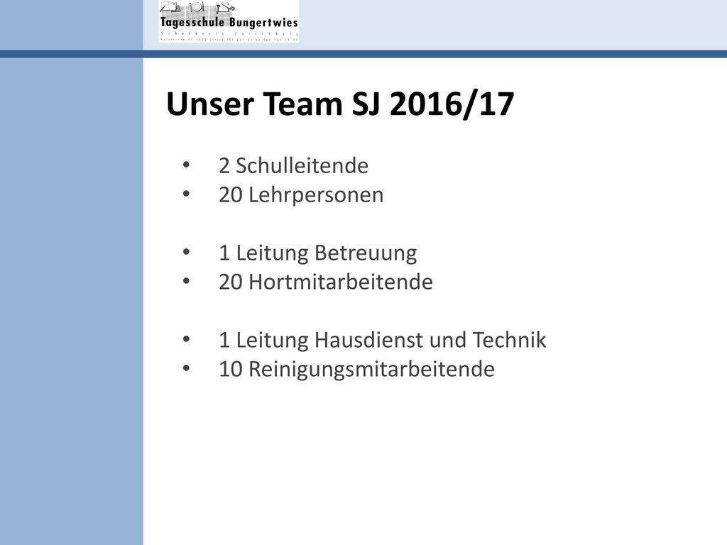 Unser Team SJ 2016/17 2 Schulleitende 20 Lehrpersonen