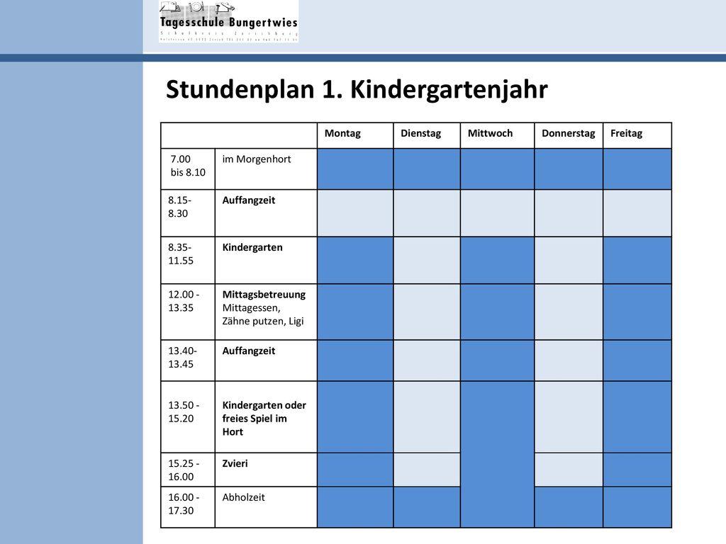 Stundenplan 1. Kindergartenjahr