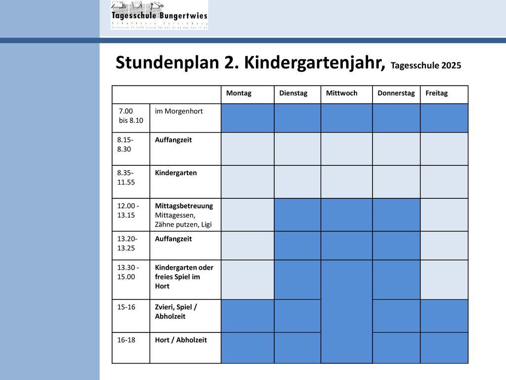 Stundenplan 2. Kindergartenjahr, Tagesschule 2025