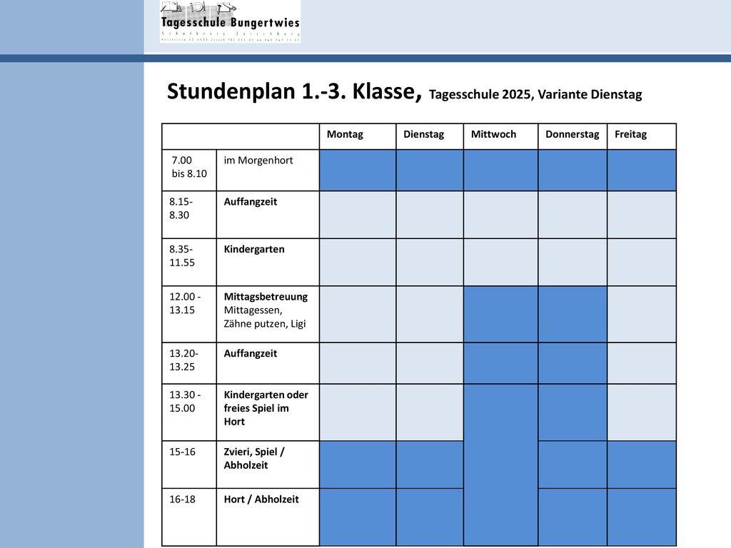 Stundenplan 1.-3. Klasse, Tagesschule 2025, Variante Dienstag
