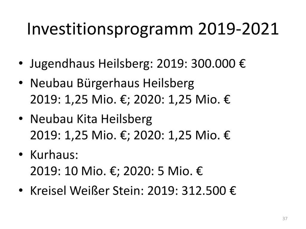 Investitionsprogramm 2019-2021