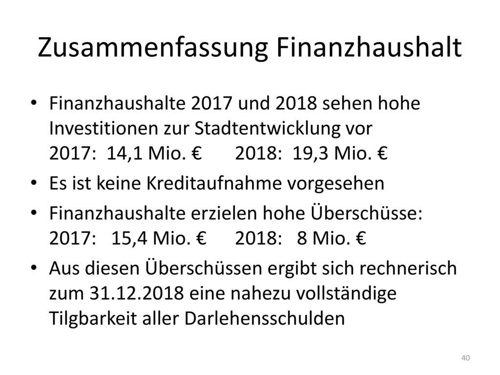 Zusammenfassung Finanzhaushalt