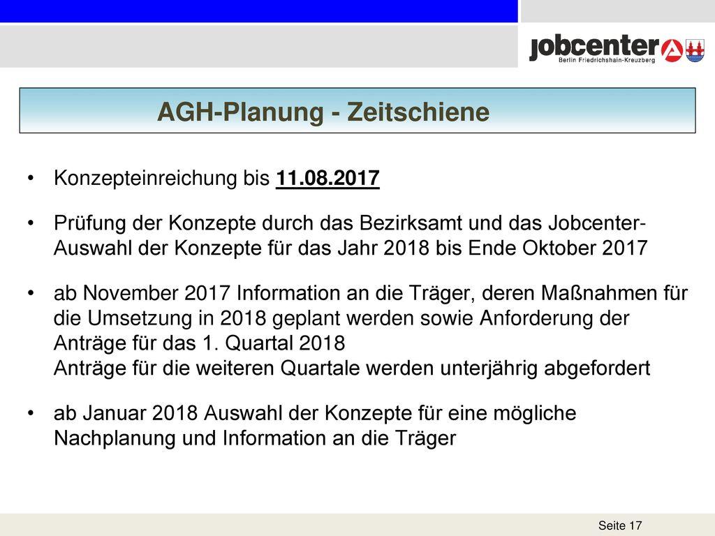 AGH-Planung - Zeitschiene