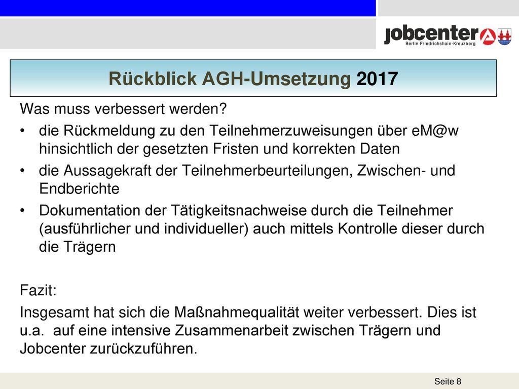 Rückblick AGH-Umsetzung 2017