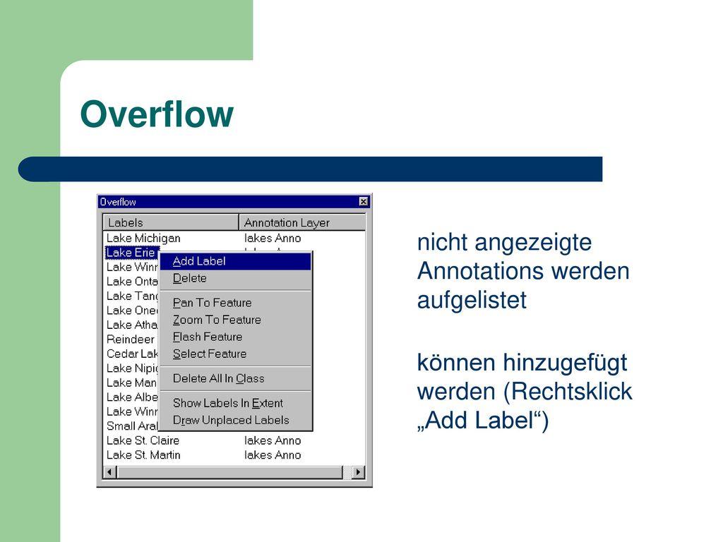 Overflow nicht angezeigte Annotations werden aufgelistet