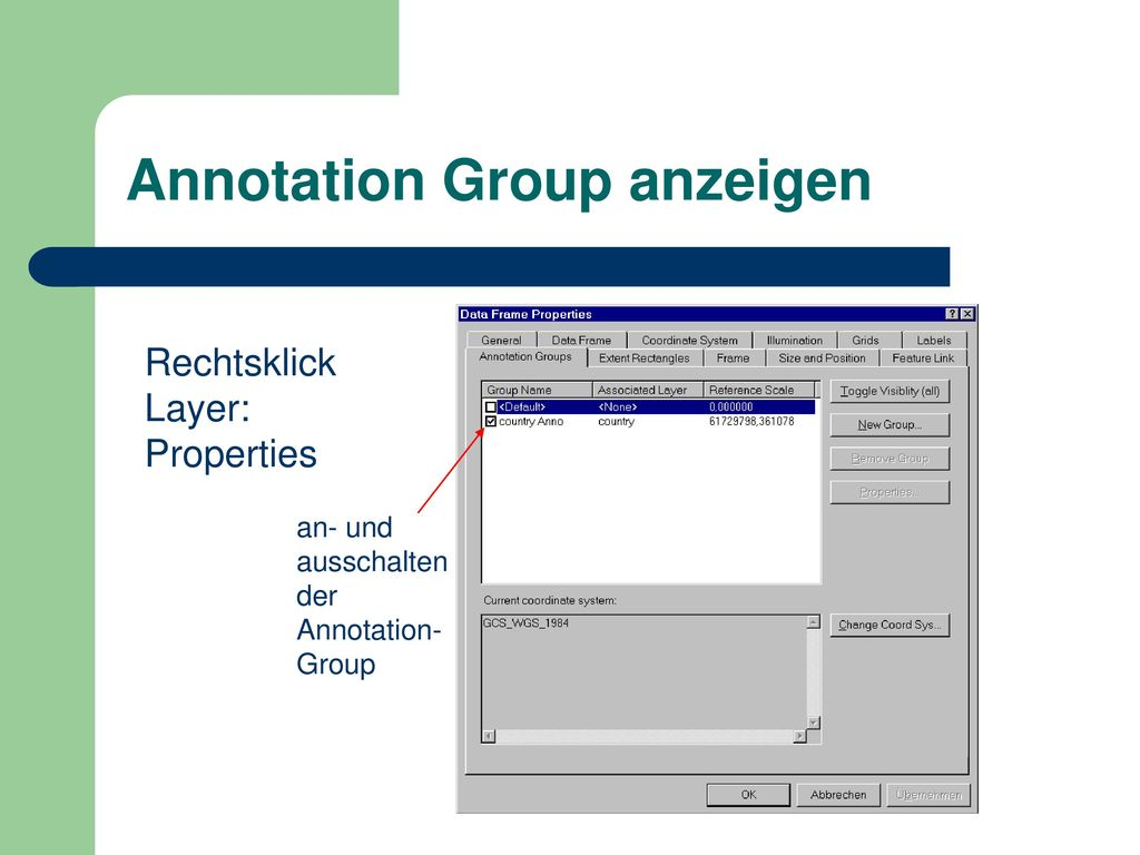 Annotation Group anzeigen