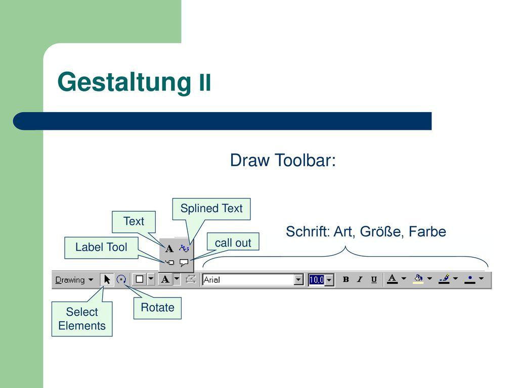 Gestaltung II Draw Toolbar: Schrift: Art, Größe, Farbe Splined Text