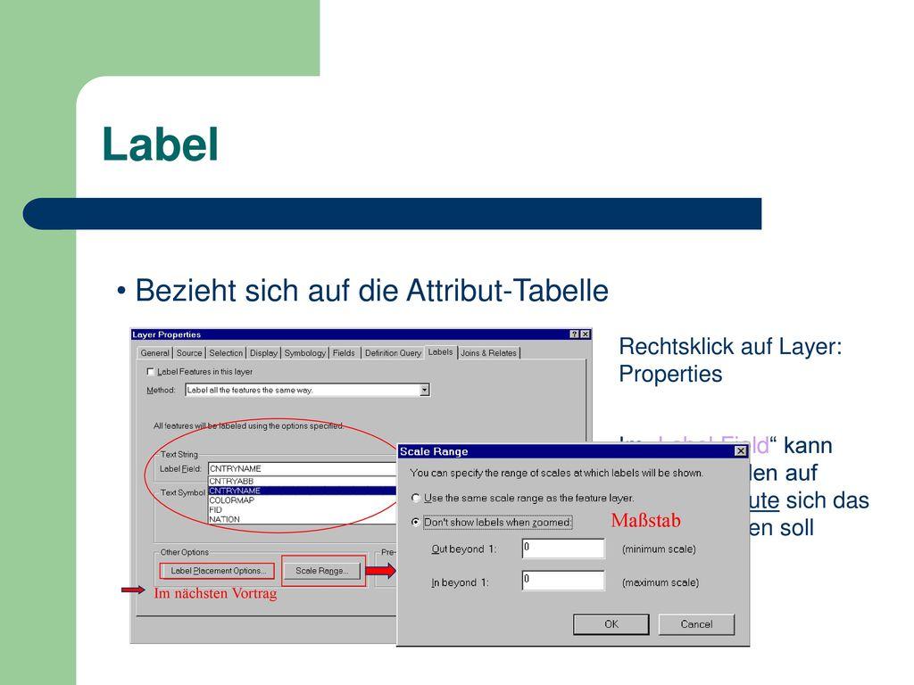Label Bezieht sich auf die Attribut-Tabelle
