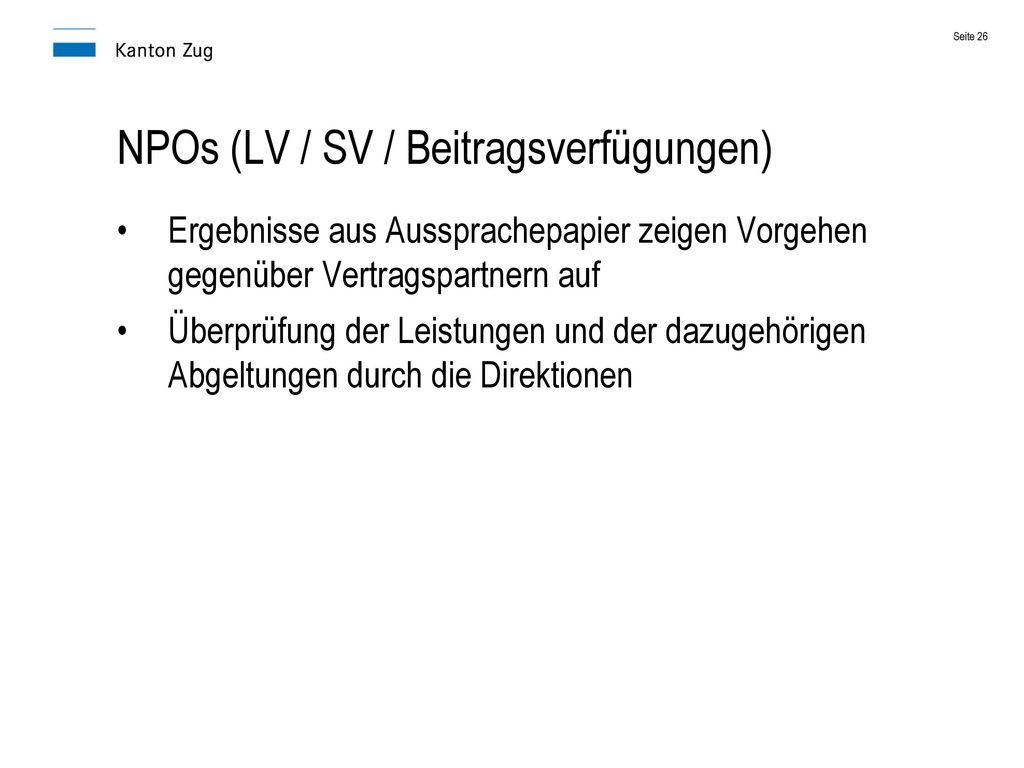 NPOs (LV / SV / Beitragsverfügungen)