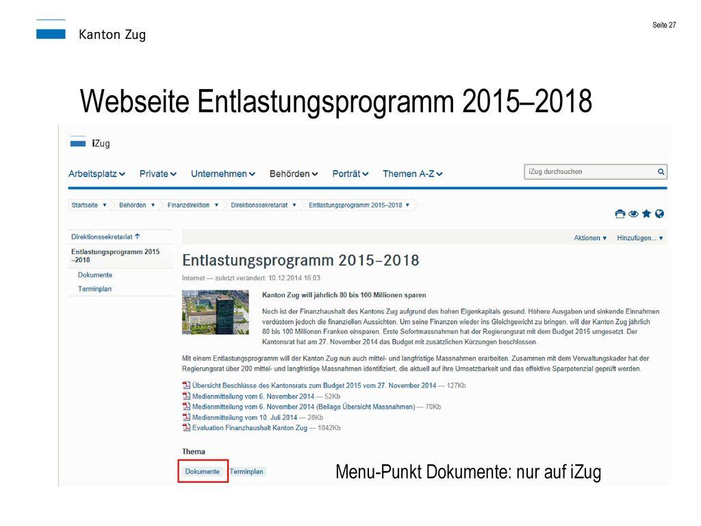 Webseite Entlastungsprogramm 2015–2018