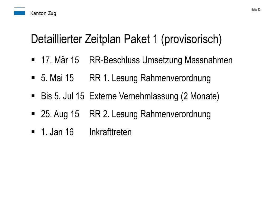 Detaillierter Zeitplan Paket 1 (provisorisch)
