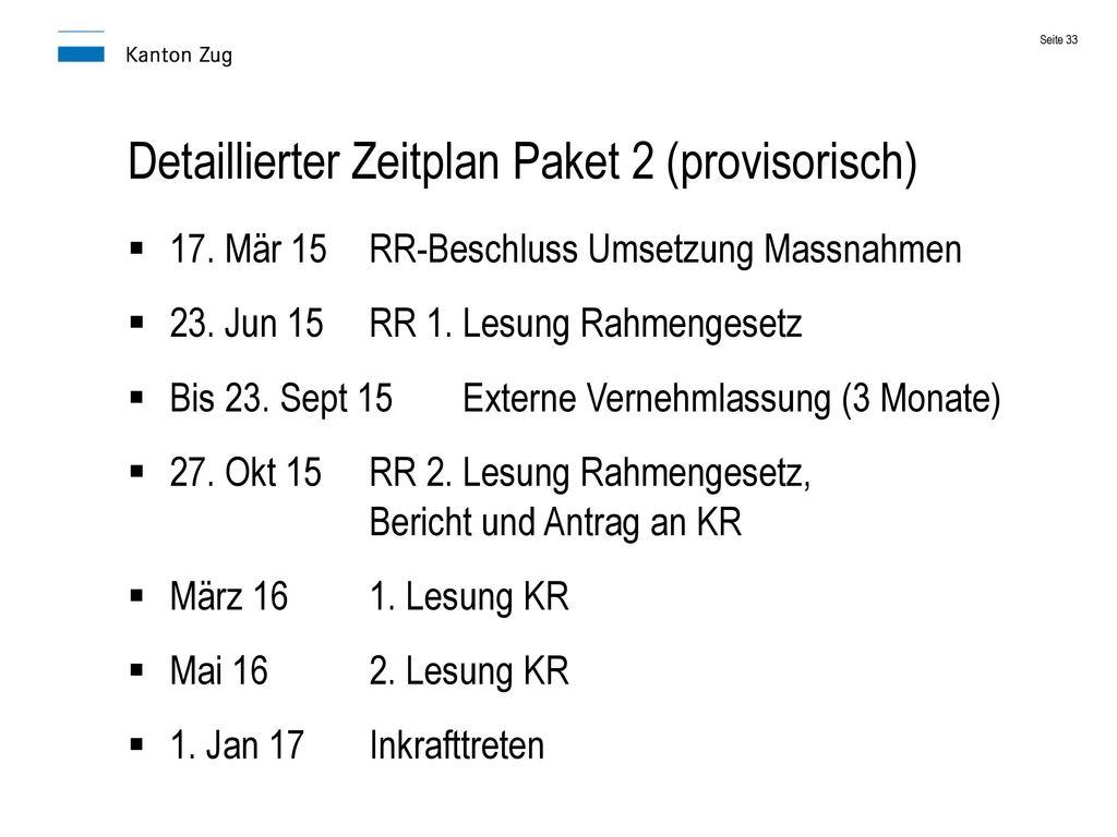 Detaillierter Zeitplan Paket 2 (provisorisch)
