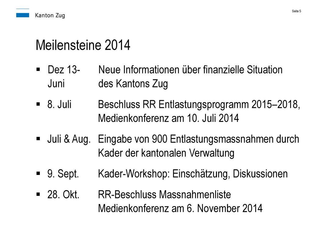 Meilensteine 2014 Dez 13- Neue Informationen über finanzielle Situation Juni des Kantons Zug.
