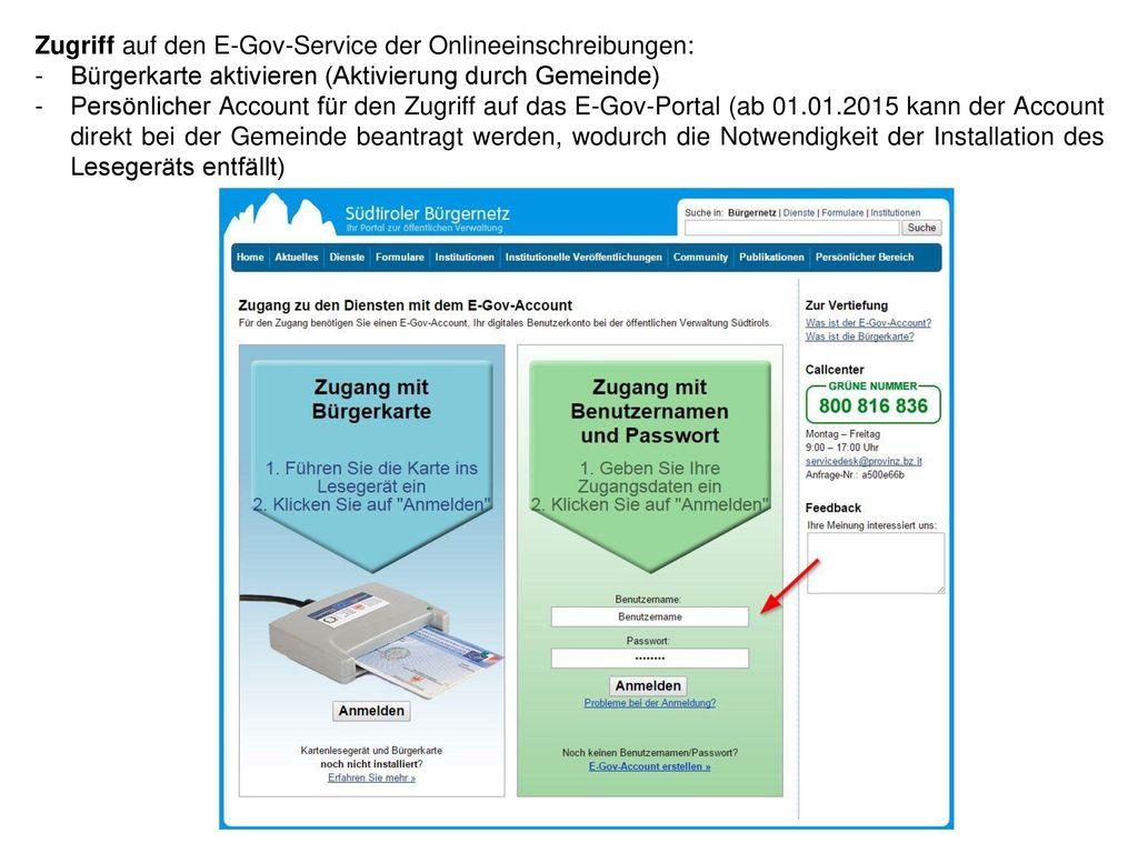 Zugriff auf den E-Gov-Service der Onlineeinschreibungen: